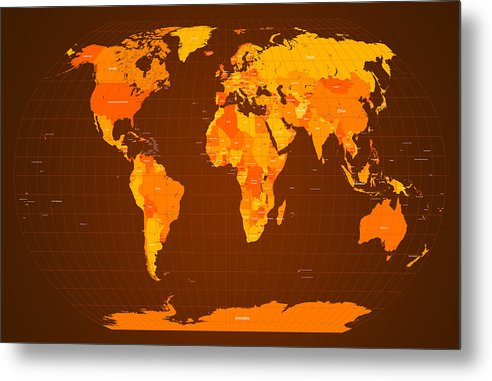 Map Of The World Metal Print featuring the digital art World Map Fall Colours by Michael Tompsett