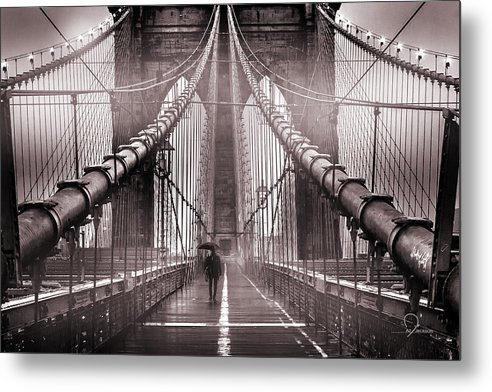 Brooklyn Bridge Metal Print featuring the photograph Shadow Man by Az Jackson
