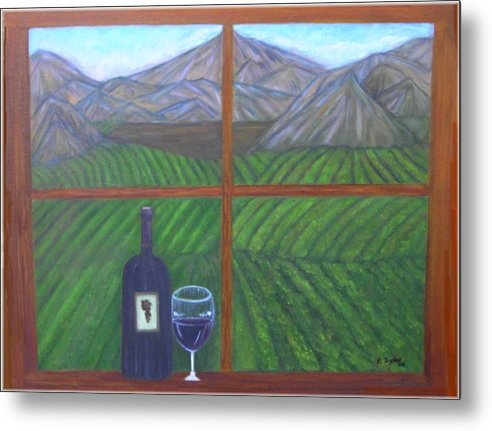 Vinyard Metal Print featuring the painting Valley View by Paula Taylor