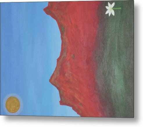 Sun Metal Print featuring the painting Flower Of Hope by Sarah England-Rocca