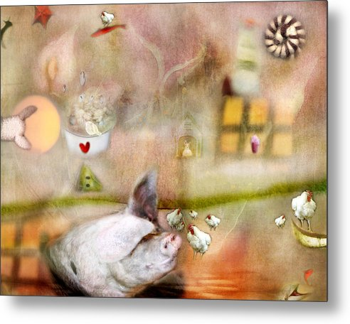 Pigs Metal Print featuring the photograph Pig by Karen Divine