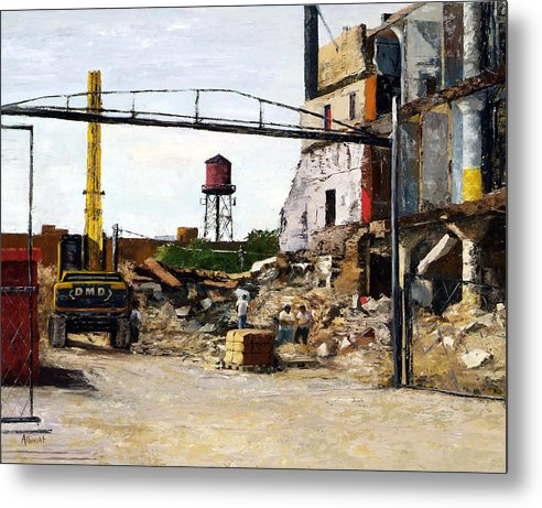 Cityscape Series Metal Print featuring the painting Demolition 4 by Nancy Albrecht