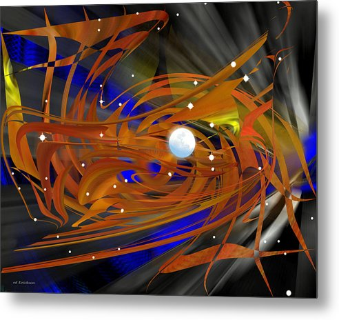 Rd Erickson Metal Print featuring the digital art Moon In Leo - Abstract by rd Erickson