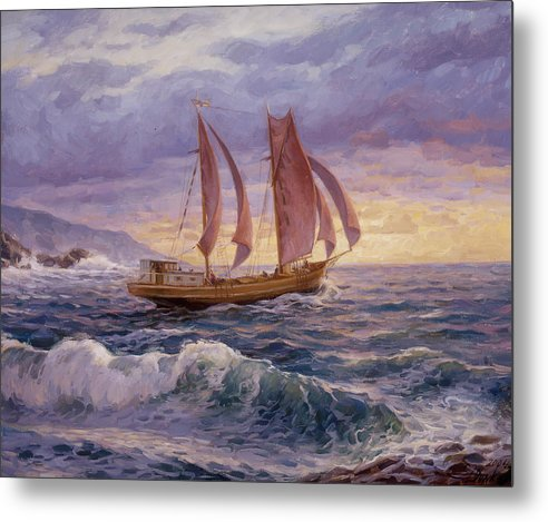 Seascape Metal Print featuring the painting Stormy Sea by Serguei Zlenko