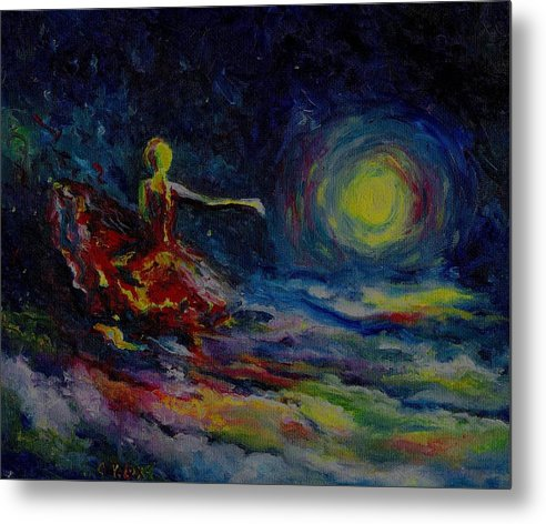 Skyscape Metal Print featuring the painting Dancing With The Moon by Stephanie Cox