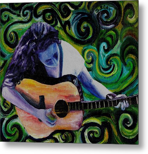 Decorative Surreal Music Metal Print featuring the painting Guitar Heroine by Stephanie Cox