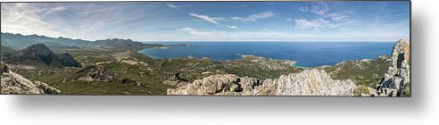 Ancient Metal Print featuring the photograph Panoramic View Across Calvi Bay And Revellata In Corsica by Jon Ingall