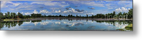 Siem Reap Metal Print featuring the photograph Pano Cambodia Lake by Chuck Kuhn
