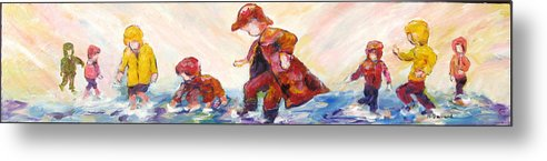 Mothers And Children Bonding Metal Print featuring the mixed media Puddle Jumpers by Naomi Gerrard
