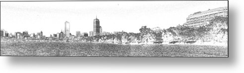 Boston Metal Print featuring the photograph Boston Skyline Faux Pencil by C H Apperson