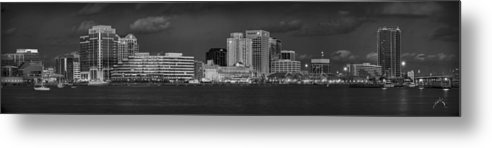 Norfolk Metal Print featuring the photograph Norfolk Waterfront Bw by Williams-Cairns Photography LLC