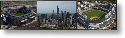 Chicago Sports Metal Print featuring the photograph Us Cellular And Wrigley Field Chicago Baseball Parks 3 Panel Composite 02 by Thomas Woolworth