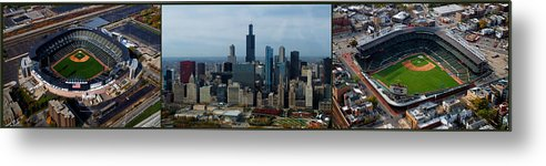 White Sox Metal Print featuring the photograph Wrigley And Us Cellular Fields Chicago Baseball Parks 3 Panel Composite 01 by Thomas Woolworth