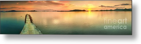 Pier Metal Print featuring the photograph Sunset Panorama by MotHaiBaPhoto Prints