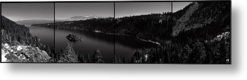Emerald Bay Metal Print featuring the photograph Black And White Emerald Bay Panorama by Brad Scott