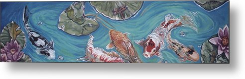 Fish Metal Print featuring the painting Koi Pond by Diann Baggett