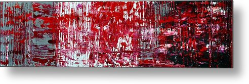 Red Paintings Metal Print featuring the painting Red Grey White And Black by Martina Niederhauser
