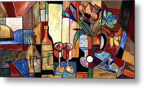 Everett Spruill Metal Print featuring the painting Still Life with Wine and Flowers for two take 2 by Everett Spruill