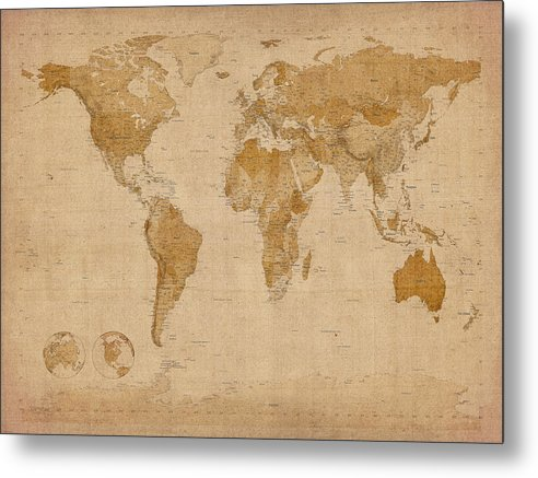 World Map Metal Print featuring the digital art World Map Antique Style by Michael Tompsett
