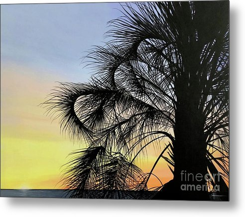 Sunset Metal Print featuring the painting Sunset at Treasure Island by Hunter Jay