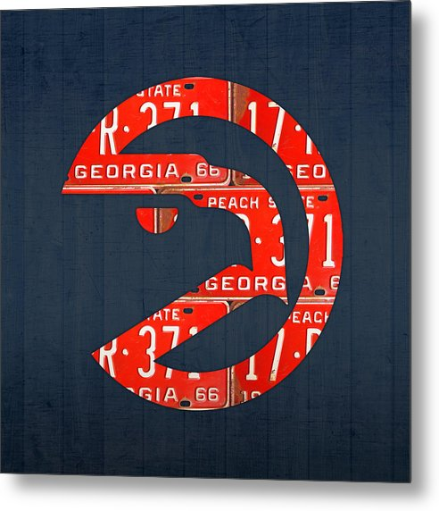 Atlanta Hawks Basketball Team Retro Logo Vintage Recycled Georgia License Plate Art by Design Turnpike