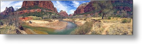 Travel Zion National Park Virgin River Zion National Park Panorama Metal Print featuring the photograph Virgin River Bend by Scott Waters