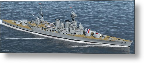 Hms Hood Metal Print featuring the digital art Hms Hood 1937 - Bow To Stern - Med Sea by Christopher Snook