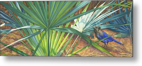 Stellar\'s Bluejay Metal Print featuring the painting Palmettos And Stellars Blue by Marguerite Chadwick-Juner