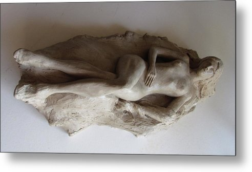 Nude Metal Print featuring the sculpture Reclining Nude by Herschel Pollard