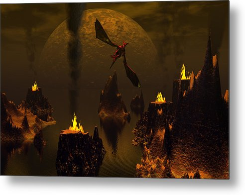 Bryce 3d Fantasy Dragon Moon Metal Print featuring the digital art Habitation Of Dragons 2 by Claude McCoy