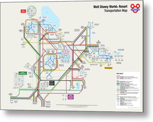 photograph regarding Printable Maps of Disney World named Walt Disney Environment Vacation resort Transport Map Steel Print