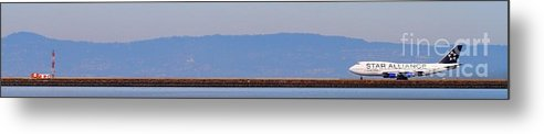Pano Metal Print featuring the photograph Star Alliance Airlines Jet Airplane At San Francisco International Airport Sfo . 7d12208 . Pano Cut by Wingsdomain Art and Photography