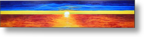 Abstract Impressionist Sunset Metal Print featuring the painting Green Flash by Brenda Helt