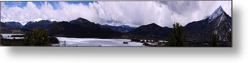 Landscape Metal Print featuring the photograph Snow Lake And Mountains by Maria Arango Diener