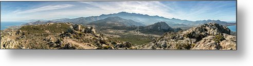 Balagne Metal Print featuring the photograph Panoramic View Of Monte Grosso And The Mountains Of Corsica by Jon Ingall