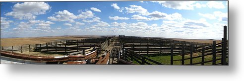 Kansas Print Metal Print featuring the photograph Cattle Pens by Crystal Socha