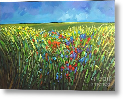 Landscape Metal Print featuring the painting Summer Breeze by Hunter Jay