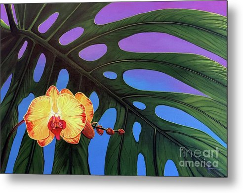 Monstera Metal Print featuring the painting Contemplation by Hunter Jay