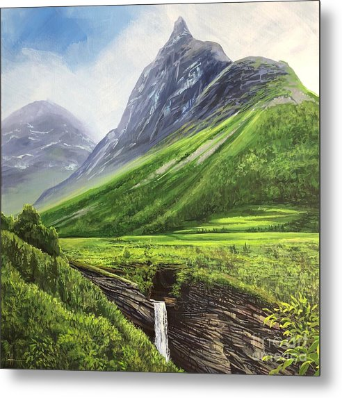Norway Metal Print featuring the painting Mountains of Time by Hunter Jay