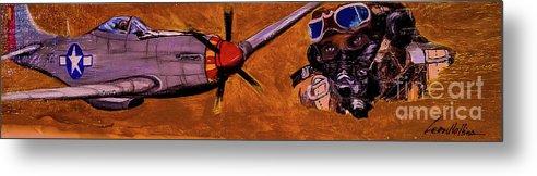 Black Pilots Metal Print featuring the painting Tuskegee Airmen II by Leon Hollins III