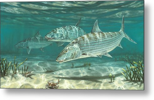 Three Bonefish and Crabs by Don  Ray