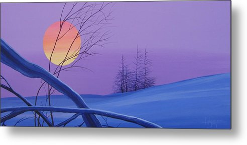 Mountains Metal Print featuring the painting Silent Snow by Hunter Jay