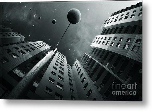 Surreal Metal Print featuring the digital art City2 by Simon Siwak