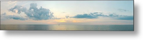 Sailboat Metal Print featuring the photograph Into The Sunset Lake Michigan Panorama by M Urbanski