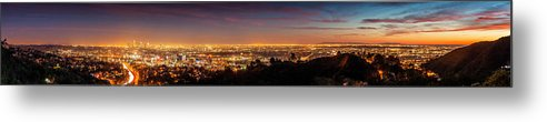 Panoramic Metal Print featuring the photograph Panoramic View Of Los Angeles At Dusk by Bob Stefko