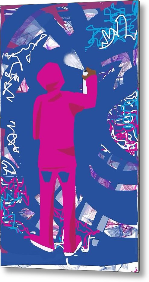 Abstract Metal Print featuring the digital art Graffiti Artist by Tracy Russell