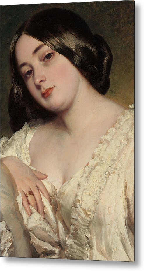 Portrait Of A Lady Metal Print featuring the painting Portrait Of A Lady by Franz Xaver Winterhalter