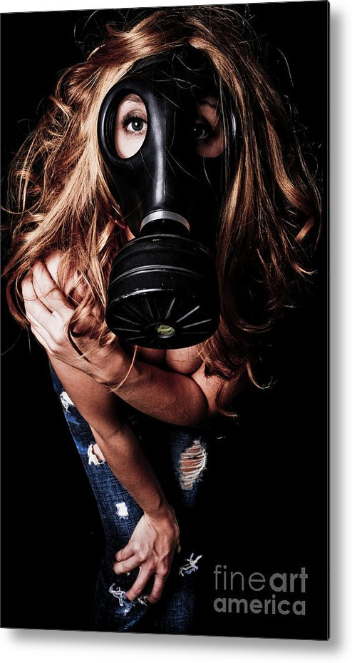 Girl Metal Print featuring the photograph Red Head Gas Mask by Jt PhotoDesign