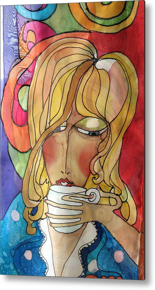Silk Metal Print featuring the tapestry - textile lady in AM by Yvonne Feavearyear