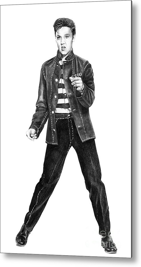 Elvis Metal Print featuring the drawing Elvis Presley  by Murphy Elliott